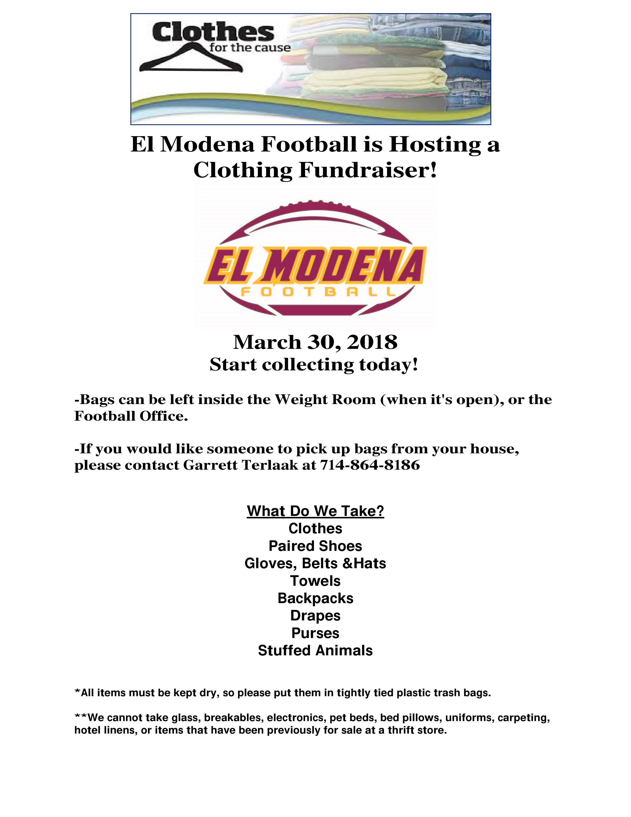 Football Clothing Drive Flyer 3/30