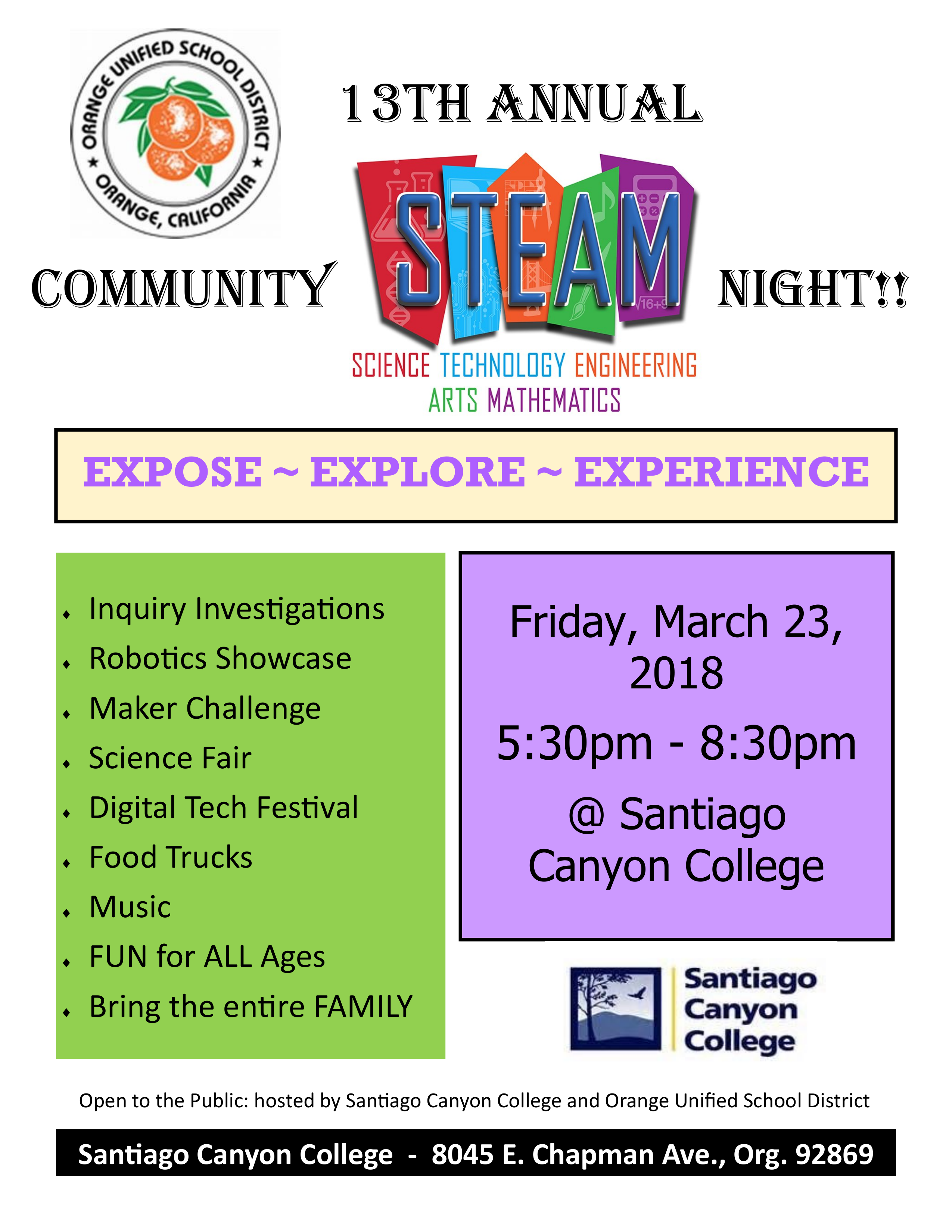 2018 Community Steam Night Flyer